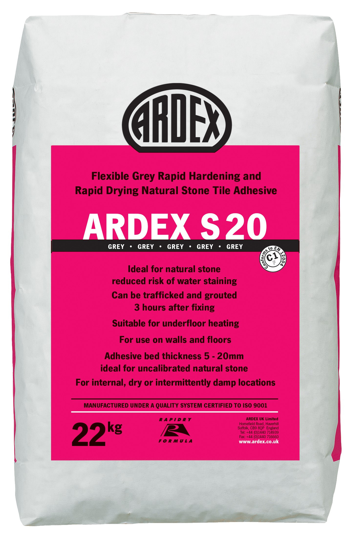 Ardex S 20 Flexible Rapid Drying Natural Stone Wall Floor Tile