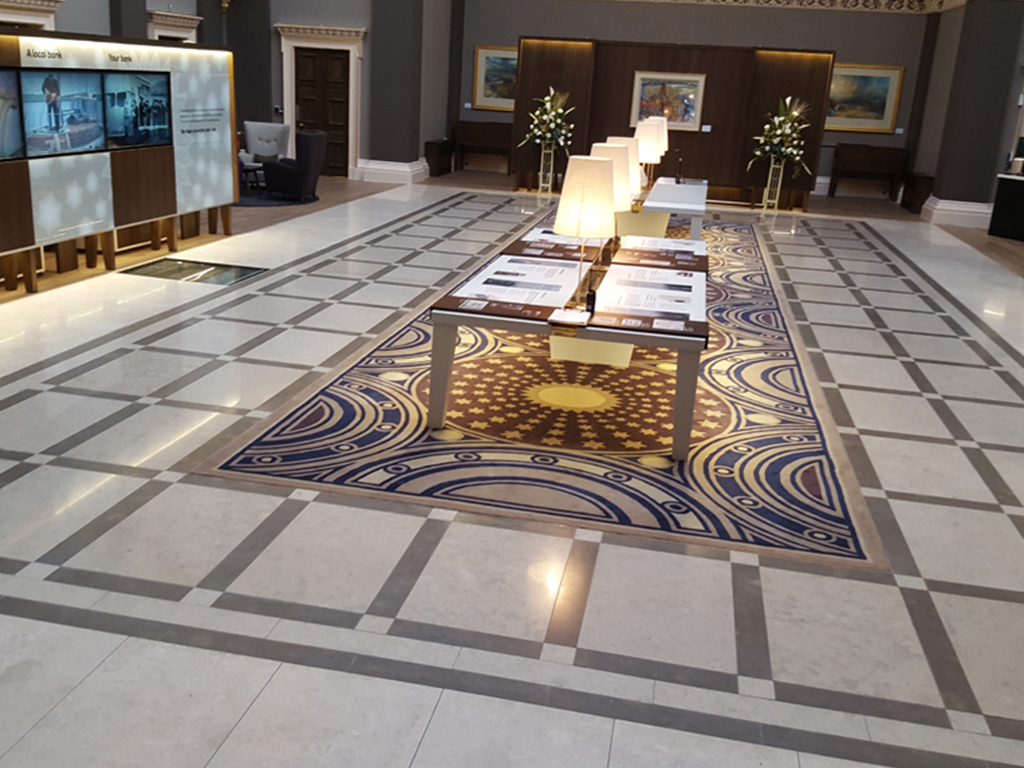 Royal bank of scotland an extensive renovation was needed for ardex products protected the original grade ii listed tiles when installing 24 tonnes of granite slabs to the new floor dailygadgetfo Images